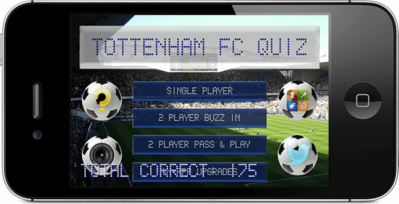 The Spurs Quiz app running on an iPhone at the main menu