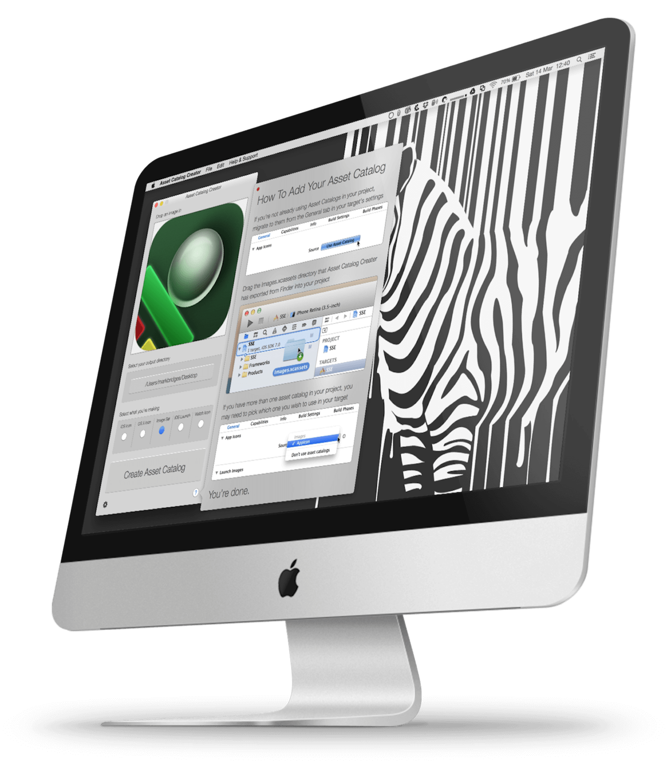 Asset Catalog Creator macOS app running on an Apple iMac with the help screen open