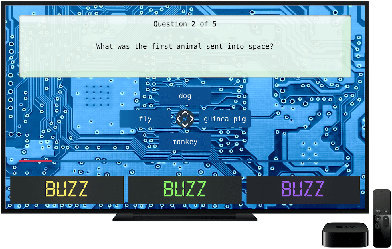 Geek Quiz tvOS app running on an Apple TV on the game screen